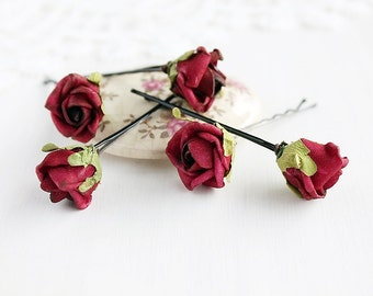 Burgundy Rose Hair Pins, Deep Red Bridal Pins, Marsala Wedding Pins, Flower Hair Pins, Wedding Bobby Pins, Rose Hair Pins, Bridal Bobby Pins