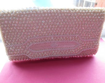 Vintage antique ivory colored sequined and beaded evening clutch. 1950s-60s