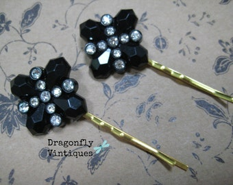Vintage Black Rhinestones Hair Pins, Art Deco Style, Repurposed Jewelry, Recycled, Upcycled, Eco Friendly, Gift for Her  (20)