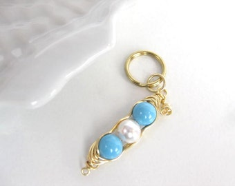 Keychain charm, Peapod keychain charm, peas in a pod charm, key chain charm, split ring charm,