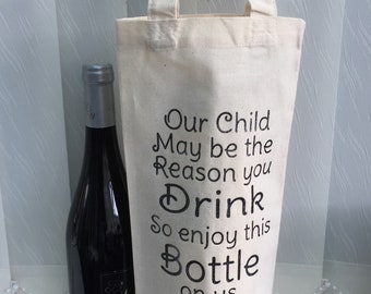 Teachers Gift Thank You. Bottle Bag. Wine Gin Champagne personalised