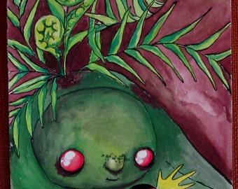 Original whimsical creature gouache painting fern ladybug