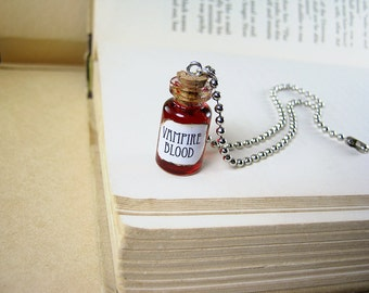Vampire Blood 1ml Glass Bottle Necklace Charm - Cork Vial Pendant - V Vampire's Blood Halloween