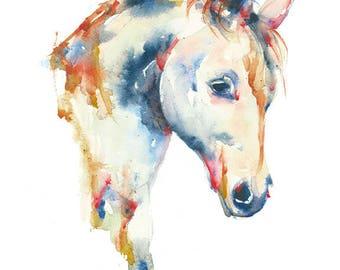 Horse (8 x 10), June Watercolor, June Watercolor Art, Horse Print, Horse Watercolor, Horse Painting, Nursery Decor by June Watercolor