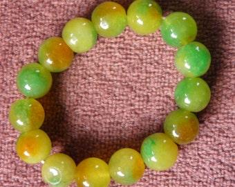 Restrung Green and Yellow Jade Bracelet
