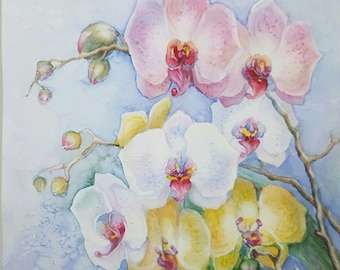 Pink Orchideas original art by InterArtShop  watercolor flowers ready gift art decor  matted artwork .