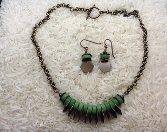 Green seaglass and antique brass necklace with matching earrings