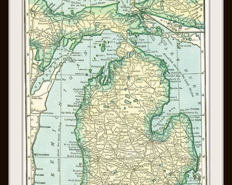 DIGITAL Download - 1920's MICHIGAN Map - US Map for Papercrafts, Transfers, Pillows, Scrapbooks, and more.