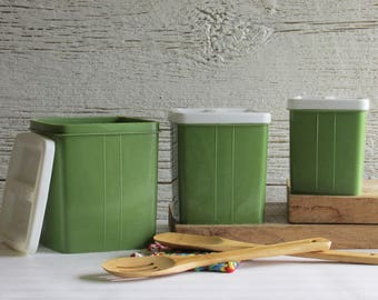 retro style - vintage kitchen decor - canisters -green and white