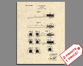 Patent Prints - Toothbrush Patent Art - Vintage Bathroom Art Patent Print - Toothbrush Art Bathroom Poster - Bathroom Wall Art Prints - 413