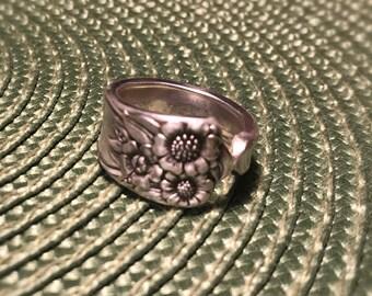 April pattern Vintage Spoon Ring