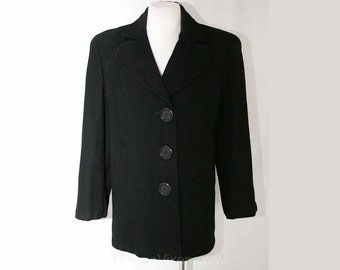 Size 14 1930s Jacket - Black Herringbone Wool Winter Coat - Chic 30s Tailored Car Coat - National Recovery Board - Bust 39.5 - 38176