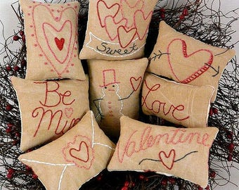 Valentine Mini Pillows ornies Pattern PDF - embroidery heart bowl fillers primitive stitchery pinkeep pin cushion tuck