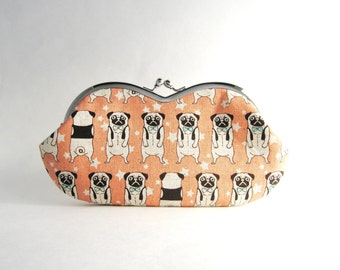 Sunglasses case Eyeglasses Case Clutch Purse - Pug in Pink