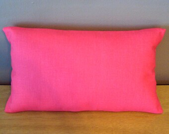 Solid Hot Pink Cotton Decorative Lumbar Pillow Cover - Available In 3 Sizes