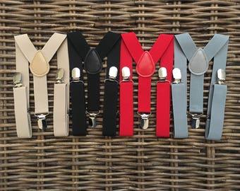 Suspenders/ Baby Suspenders/ Toddler Suspenders/ Young Boy Suspenders/ Adult Suspenders/ Gray Suspenders/ Tan Suspenders/ Adjustable