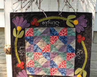 Cotton and Wool Applique - Simple Life Wall Hanging