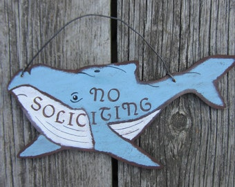 HUMBACK WHALE No Soliciting Sign - Origiinal Hand Painted Wood
