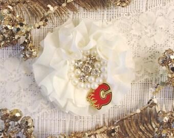 NHL Calgary Flames Ivory Lace Wedding Garter | Wedding Garter Set | Sports Garter | Bridal Shower Gift | Bridal Gift