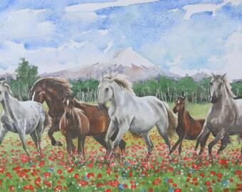"""Horses in Mulalo, watercolor PRINT of original, 14"""" x 19"""""""