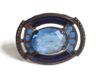 Victorian Blue Glass and Enameled Pin Brooch Oval Shape Antique