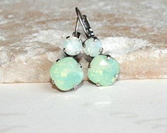 Rhinestone earrings, Cushion Cut Swarovski earrings, Chrysolite Opal Earrings, Swarovski Crystal