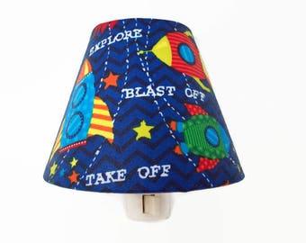 Rockets Night Light - Space Night Light- Boys Night Light - Blue Light - Outer Space Light - Rocketship Night Light - Boys Room Decor