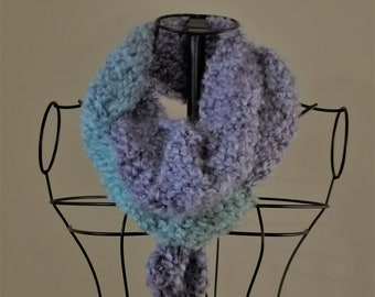 Turquoise/Lavender Simple Knit Scarf