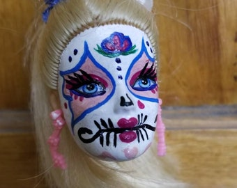 Hand painted sugar skull, day of the dead Barbie head with keychain atrachment.