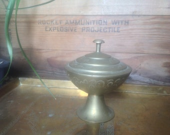 Brass etched incense burner with lid