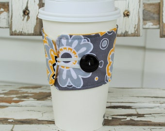 Reusable Fabric Coffee Sleeve, Coffee Cozy, To Go Coffee Cup Sleeve in a Gray Floral and Yellow Fabric, Fabric Cup Sleeve, Teacher Gift