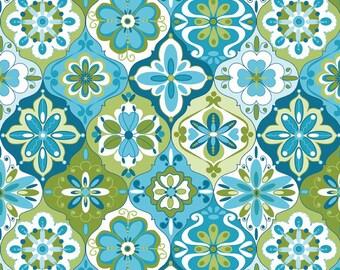Riley Blake Splendor Fabric - Tile Print - Choose Aqua, Green, or Pink, Yellow - Yardage - Cotton Material/Fat Quarter, Half, By The Yard