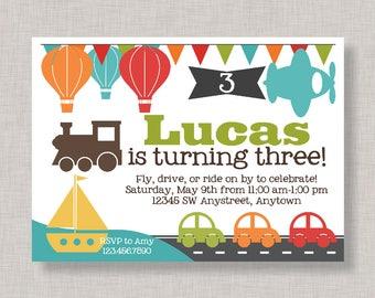 Transportation Invitation, Transportation Birthday Invitation