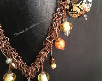 Geometric squares necklace & earring set with lamp work pillow beads, crystals and swarovski beads by Denise's Creations
