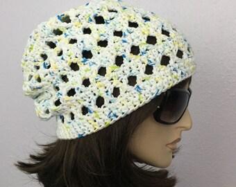 Women Crochet Summer Hat Women Summer Slouchy Beanie in Slightly Color Changing Yarn Women Spring Hat