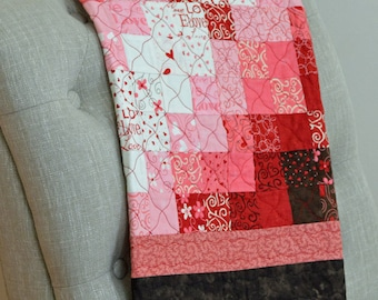 Brown, Pink and Red Valentine Wall Hanging Quilt