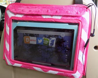 Car accessory, iPad Holder, Car Tablet Holder, Car case for IPad or tablet, in pink chevron print