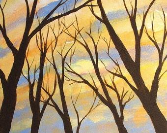 tree painting, Winter Sunset, original acrylic painting on canvas