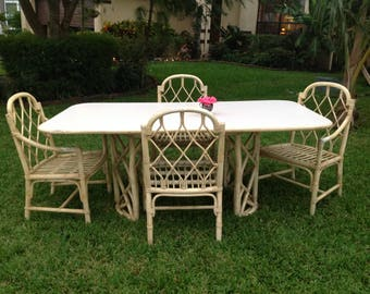 """FICKS REED CHIPPENDALE Style Dining Table 73"""" long x 41"""" Chippendale style Dining Table Base / Ficks Reed style Faux Bamboo Retro Daisy Girl"""