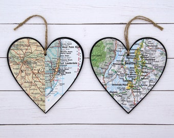 Our First Christmas Ornament Custom Map Heart Engagement Gift Personalized Map Ornament 1 Year Anniversary Gifts for Boyfriend Wedding Gift