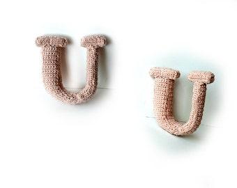 Letter U Crochet Pattern, 3D Alphabet crochet pattern, 3d words pattern, 3d letters pattern, words home deco, decorative letters crochet