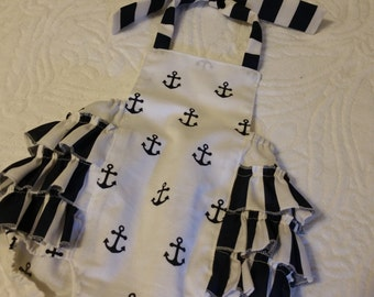 Baby Romper, Bubble Romper, Spring Romper, Baby Girl Romper, Nautical Romper, Summer Romper, Anchors