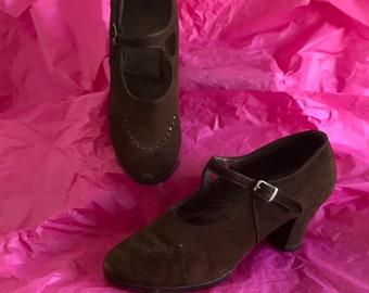 Vintage 1930s Suede Shoes 30s Art Deco Mary Jane's Charleston Dance Pumps.
