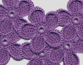 Crochet Flowers Violet flowers Crochet flowers 5.5 cm Flowers Violet crochet Flowers applique Crochet applique Handmade applique Flowers