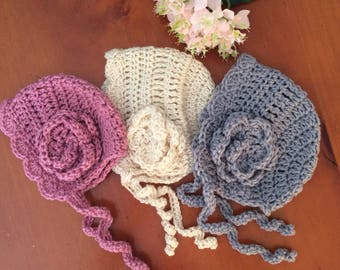Vintage style crocheted baby bonnet, baby bonnet , handmade baby bonnet. Warm baby hat