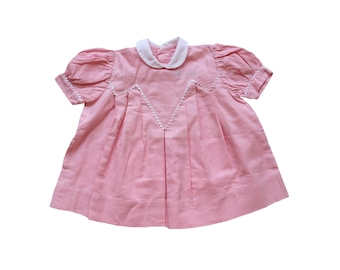 FRENCH VINTAGE 50's / baby summer dress / pink and white polka dots cotton fabric + white collar / new old stock / size 9 months