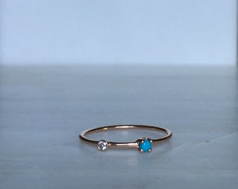 Turquoise Duet ring, 14k Diamond and turquoise Ring, Mini turquoise Ring, Two Stone Band, Stacking Bands, Stacking Rings, 14k Gold Band