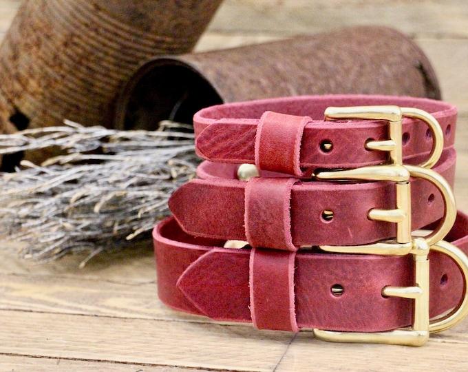 Leather Dog collars, FREE ID TAG, Collar, Burgundy,  collar, Custom leather collar, Solid brass , Handmade leather collar, Gold Hardware.