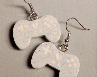 White Video Game Controller Earrings - Gamer Girl Earrings - White Glitter Earrings