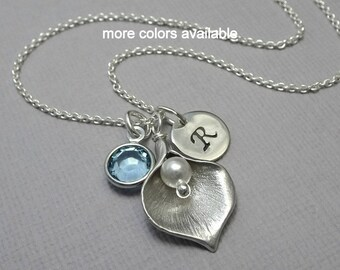Calla Lily and Aquamarine Birthstone Charm Necklace, Personalized Bridesmaid Necklace, Maid of Honor Gift, Mother of the Bride Gift